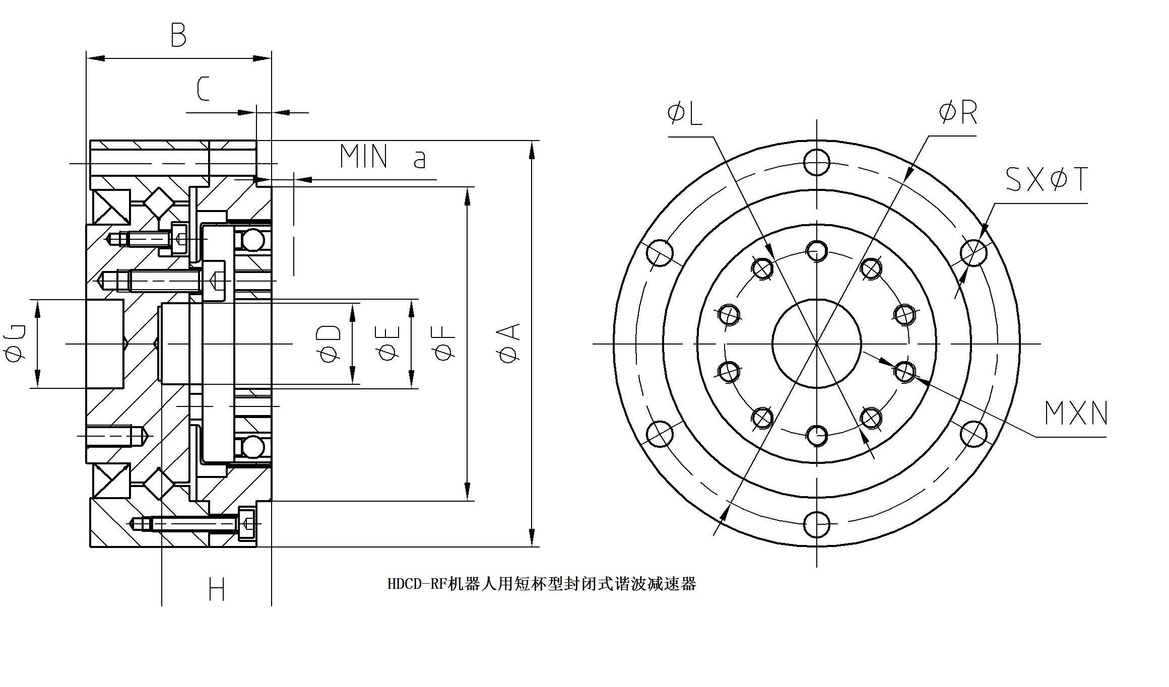 HDCD-RF机器人用短杯型封闭式谐波减速器